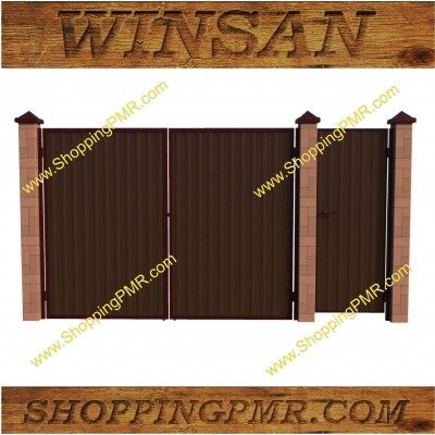 Ворота и калитка из профнастила (2м*3м+1м) №400
